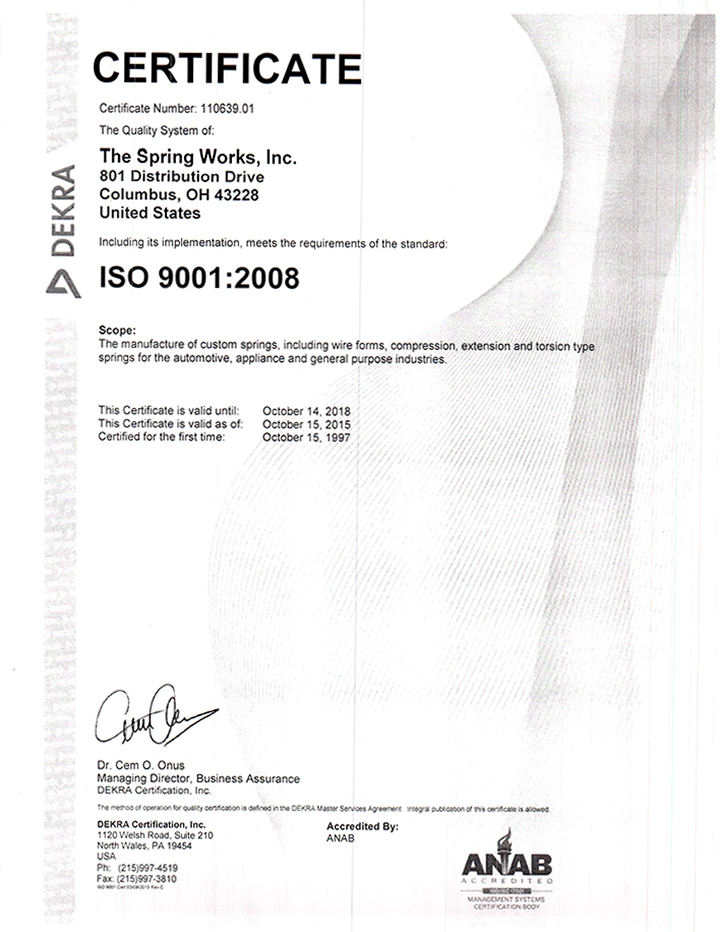 The Spring Works, Inc. ISO-9001:2008 Certification